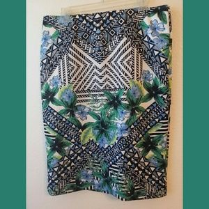 Eci Stretchy Floral Pencil Skirt Sz Large